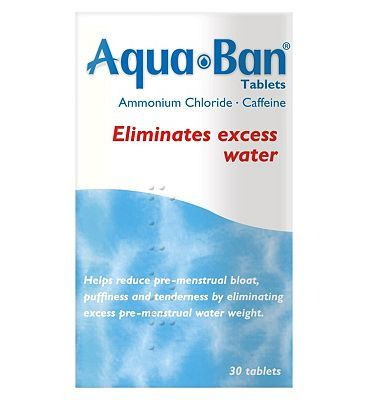 #Aqua Ban Aquaban Tablets - 30 Tablets 10008441 #8 Advantage card points. Helps reduce pre-menstral bloat, puffiness and tenderness by eliminating excess pre-menstral water weightSee details below, always read the labelSuitable for: Adult womenActive Ingredients: Ammonium Chloride, Caffeine FREE Delivery on orders over 45 GBP. (Barcode EAN=5000477137013)