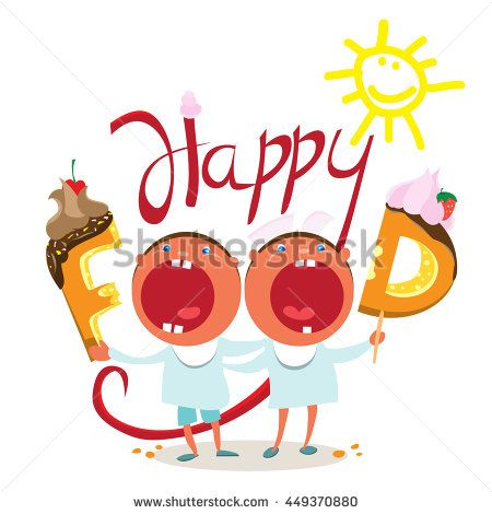 Смешные дети хотят вкусная еда - Векторная иллюстрация