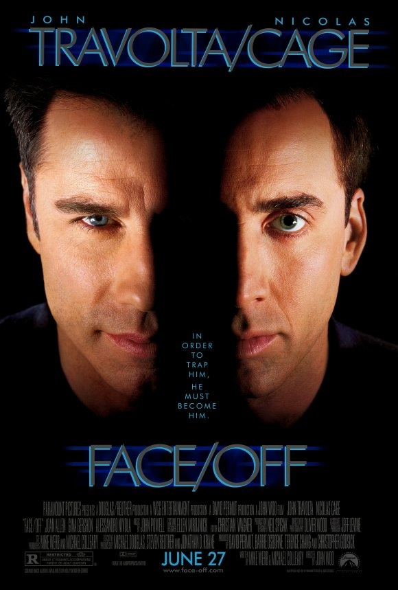 John Travolta and Nicholas Cage in Face Off. I really like this photo of Travolta.