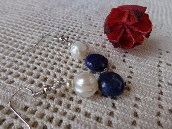 Orecchini perle di fiume e lapislazzuli orecchini di Myspecialgift