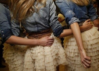 Brides maids dresses with ruffles, denim and boots. Cute for fall country wedding.