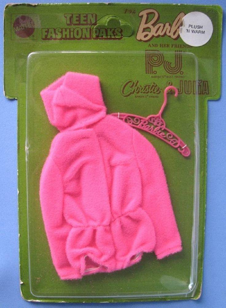Vintage HTF Barbie Doll PLUSH 'N WARM 1971 Hot Pink Fleecy Hooded Playsuit Pak