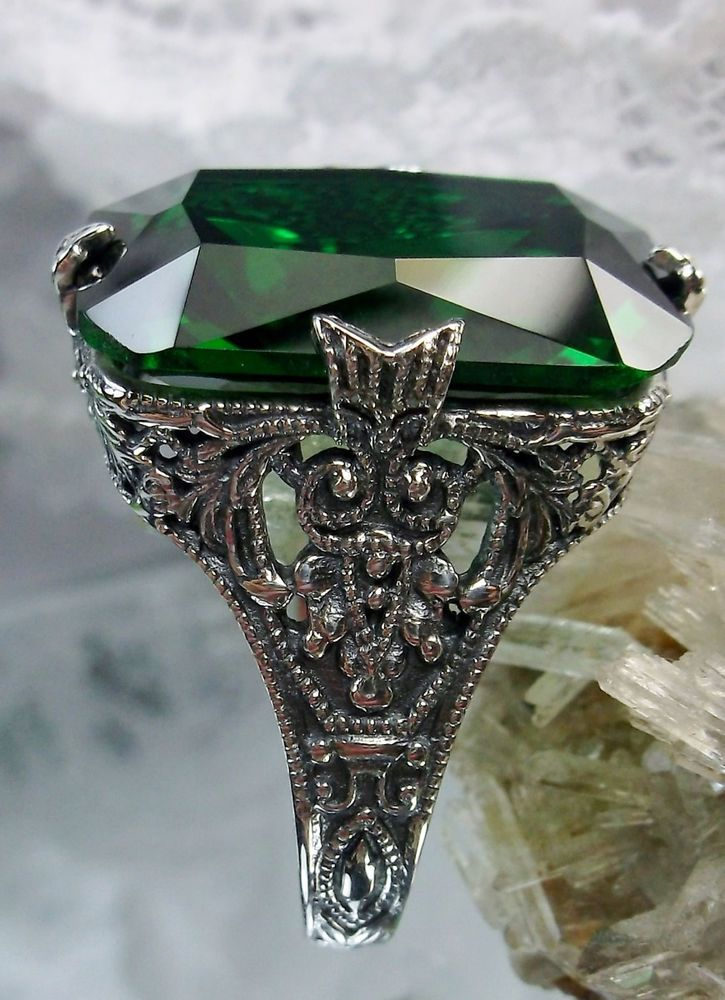 12ct *Emerald* Sterling Silver Floral Art Deco/Edwardian Filigree Ring Size: 8 #SilverEmbraceJewelry #VictorianEdwardianReproduction