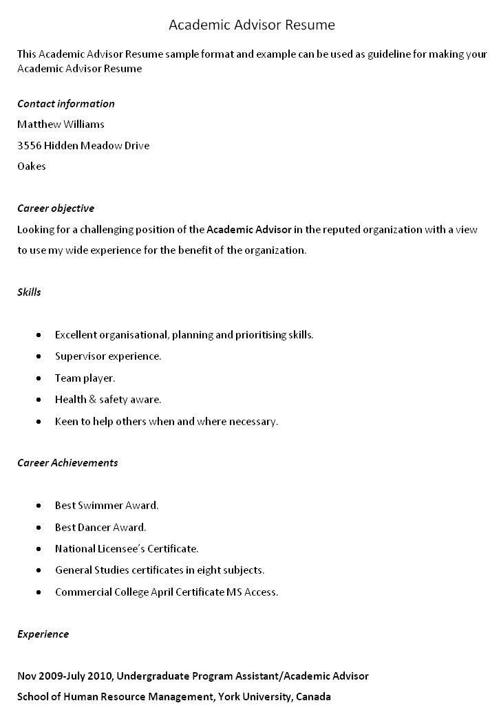 Academic Advisor Resume Cover Letter Sample
