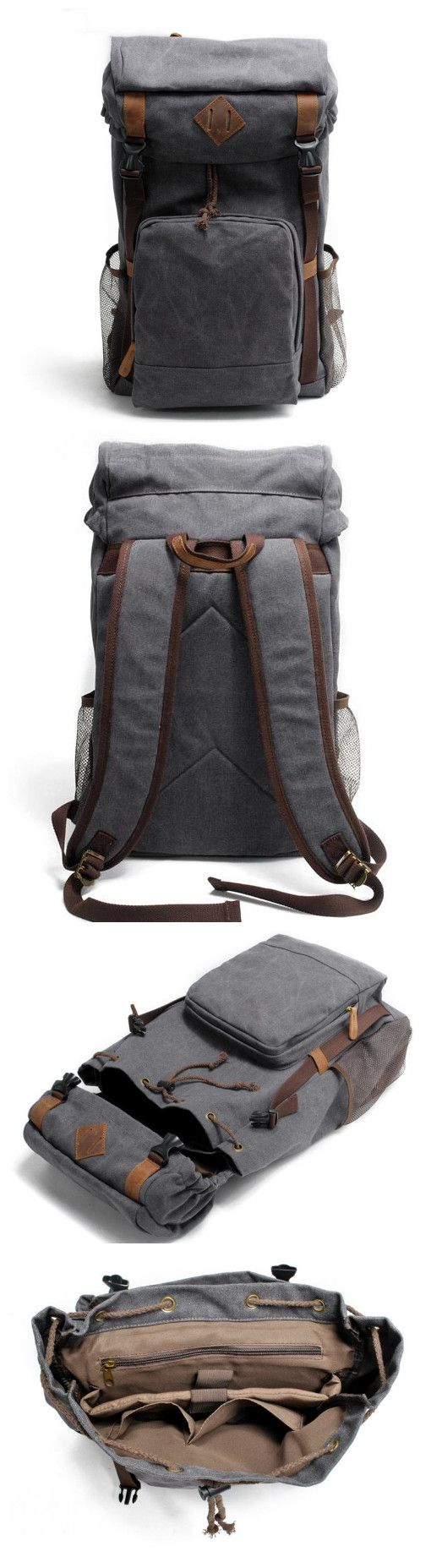 Canvas Backpack Rucksack School Backpack • Fabric Lining • Inside zipper pocket • It can hold a 17'' laptop, iPad, A4 document files, magazines, etc. ********************** Specifications: Length: 31c