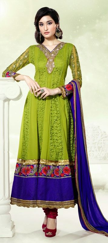 402326: Go #green with this #anarkali to be worn at any party. Click here to place the order!