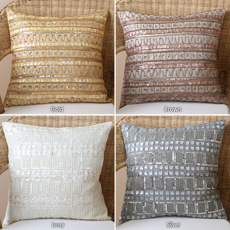 aurora home beaded mother of pearl sequin pillow pair set of 2 by aurora home