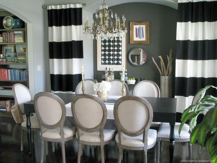 Modern Design Dining Room With Stripes Black White Curtain And 12 Inch Wide Horizontal Cotton Material Fabric Two Panels Feature