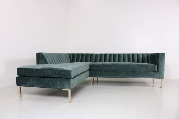 Modern Channel Tufted Back Sectional Chaise Etsy Chaise Sofa