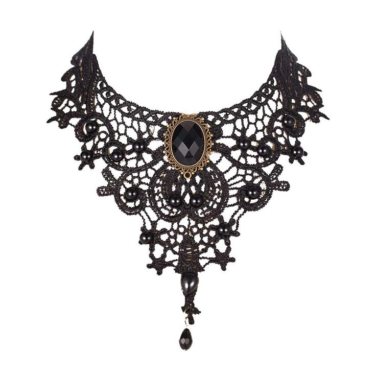 Fashion Necklaces For Women Beauty Girl Handmade Jewerly Gothic Retro Vintage Lace Necklace Collar Choker  bib gem chain
