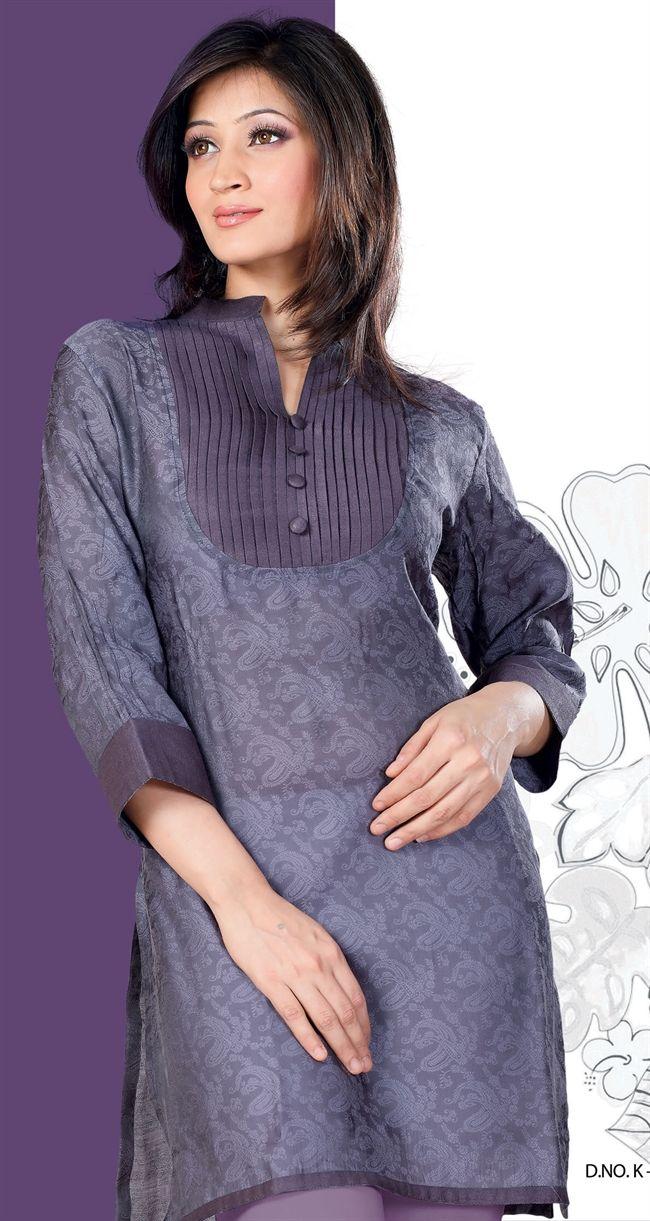 Casual Wear Grey Color Good Looking Cotton Silk #Kurti