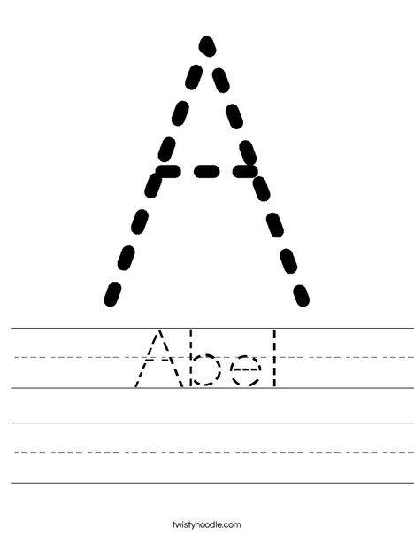 Abel Worksheet - Twisty Noodle | Name tracing worksheets ...