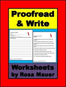 Receive 11 (including the free sample) Proofread and Write worksheets. Response forms for students and answers for the teacher are provided. Follow me to receive notice when FREE and paid products are added to my store. Visit my store for a variety of poetry packets, book units, and task card sets in all subject areas. Rosa Mauer's Store