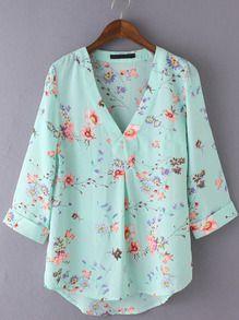 Blusa escote V floral gasa -multicolor