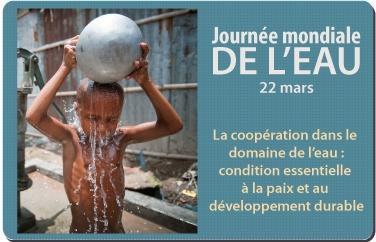 22 mars #eau : Journée mondiale de l'eau - La coopération dans le domaine de l'eau est une condition essentielle à la paix et au développement durable, contribuant à la réduction de la pauvreté, à établir l'équité, à créer des retombées économiques, à préserver les ressources en eau à protéger l'environnement, tout en construisant la paix. http://www.un.org/fr/events/waterday/