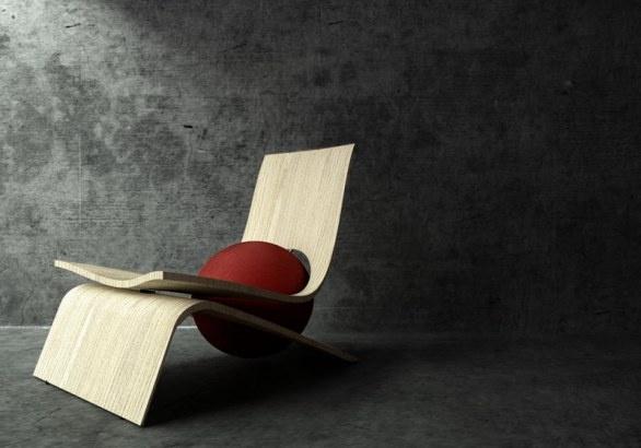 La chaise lounge di Gradosei con una sfera in poliuterano
