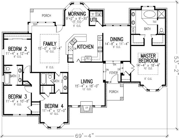 Plan 19187gt elegant single story best powder room and - Single story four bedroom house plans ...