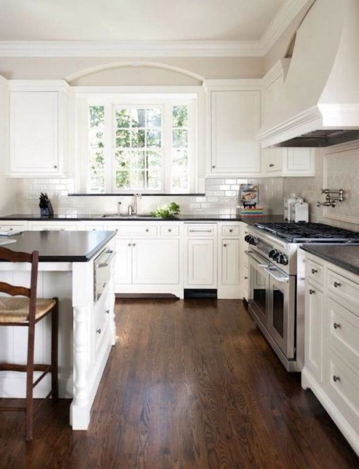 Most Recent Photographs White Kitchen With Dark Floors Concepts