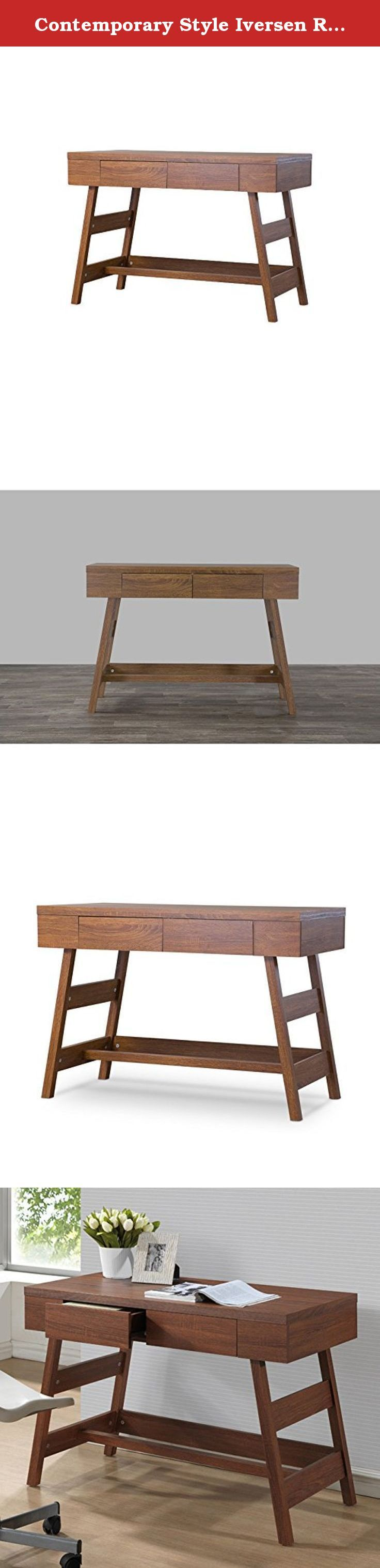 Contemporary Style Iversen Rectangular Writing Desk with 2 Large Drawers Made w/ Engineered Wood in Dark Brown Finish 30.25'' H x 43.2'' W x 21.75'' D in. Stylist's Tip: This stylish writing desk makes the perfect foundation for an inviting (and productive) workspace. Top it with a petite terrarium or potted succulent to liven up the space, then add a few mason jars or a carved wood organizer to corral all your essentials in style.