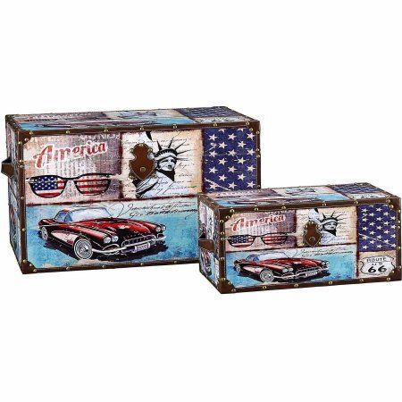 household essentials decorative storage trunk classic americana vintage car design set of 2 - Decorative Storage Trunks