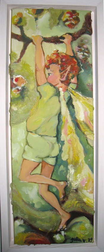 Oksissa, At the Perch 2009  20 x 60 cm  öljy, sekatekniikka / oil, mixed media