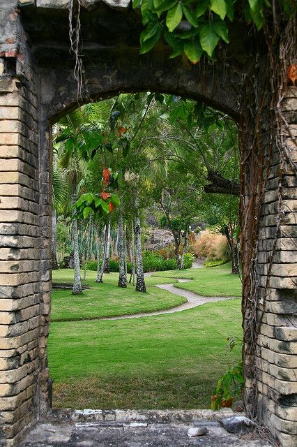 Looking through the ruins of an old sugar plantation - Martinique