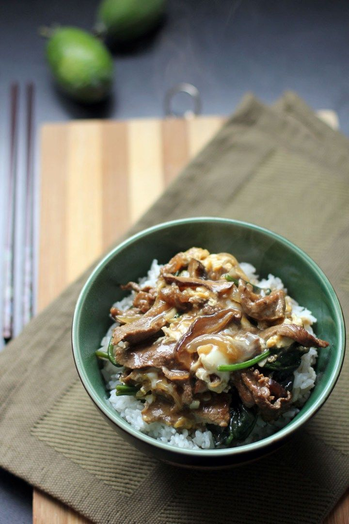 Gyudon - Thinly sliced Japanese beef tenderloin, onions and vegetable donburi over rice