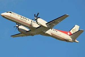 The Saab 2000 is a twin-engined high-speed turboprop airliner built by Saab. It was designed to carry 50-58 passengers and cruise at a speed of 665 km/h (413 mph). Production took place in Linköping in southern Sweden. The Saab 2000 first flew in March 1992 and was certified in 1994. The last aircraft was delivered in April 1999, a total of sixty-three aircraft being built and thirty-three remaining in service as of July 2013