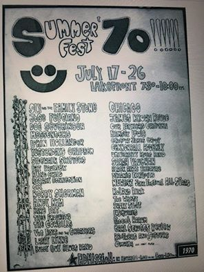 Original Summerfest poster/schedule from the first year, 1970.