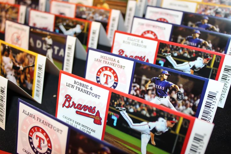 Baseball Themed Fold Over Ticket Place Cards