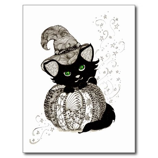 Zentangle Black Cat Green Eyes Pumpkin Postcard