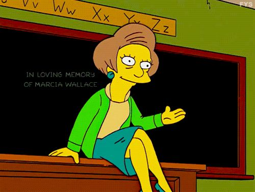 the simpsons edna krabappel season 25 edna mrs krabappel four regrettings and a funeral marcia wallace trending #GIF on #Giphy via #IFTTT http://gph.is/1XMdj78