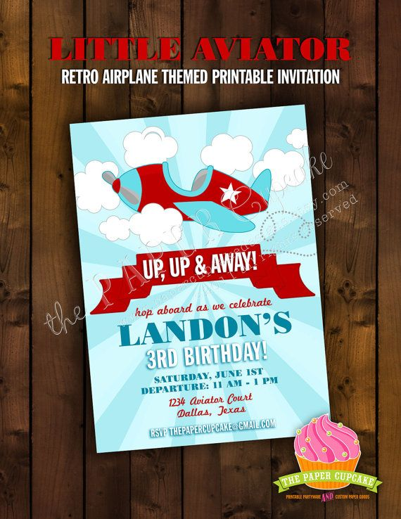 Printable Invitation Design  Little Aviator by papercupcakedesigns, $17.00