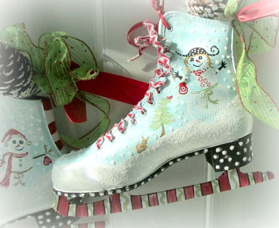 Painted Ice Skates Snowman Christmas ice skates by WhimsyBurd
