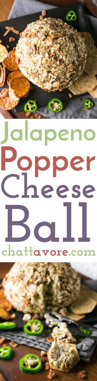 This jalapeño popper cheese ball is a delicious party snack that's a little bit kitschy, a lot delicious, and sure to be a crowd pleaser!   recipe from Chattavore.com