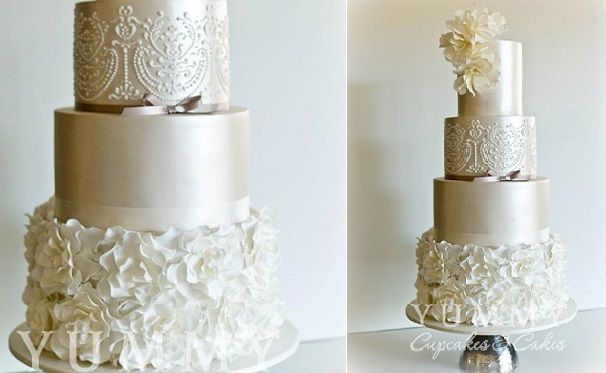 petal ruffles wedding cake with vintage piping by Yummy Cakes and Cupcakes