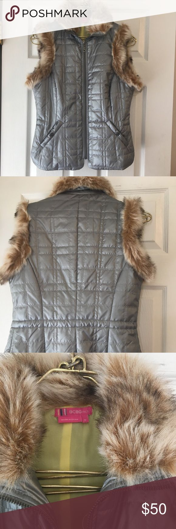 BCBGirls vest- new! Silver vest with faux fur collar and arms. Girls medium, or could fit a lady's small. So cute!! Fast Shipping. BCBGirls Shirts & Tops