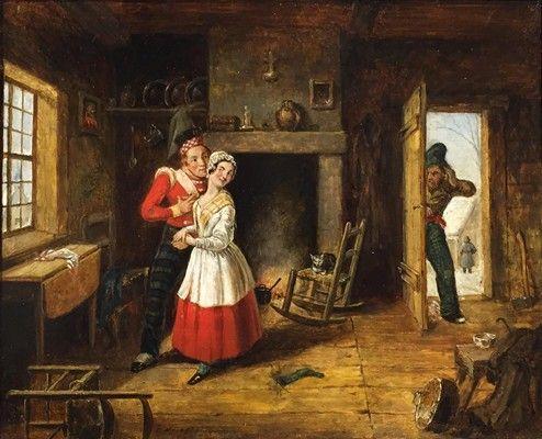 Le mari jaloux, vers 1845 Huile sur carton 8 x 9 1/2 po.