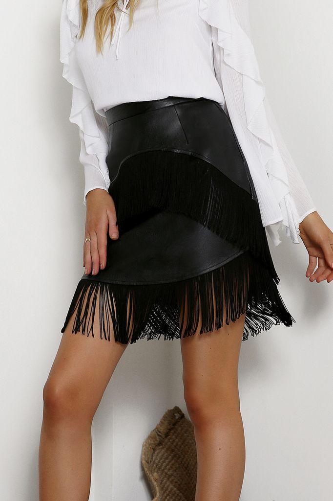 Black PU leather skirt with deep fringe detail on hemline from Seven Wonders.
