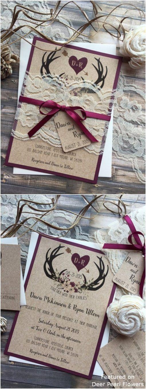 Invitations  Rustikale Land Burgund Geweih Hochzeitseinladungen #Hochzeiten #Hochzeitsideen #...