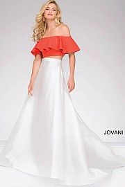 Ivory and Orange  Two-Piece Off the Shoulder Prom Dress 49923