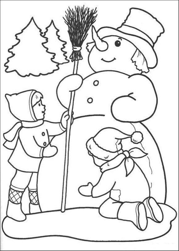 Winter Coloring Winter Coloring Page Kids Are Making Snowman