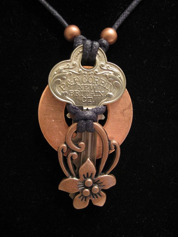urban artifact necklace - vintage key, copper washer, copper floral jewelry component