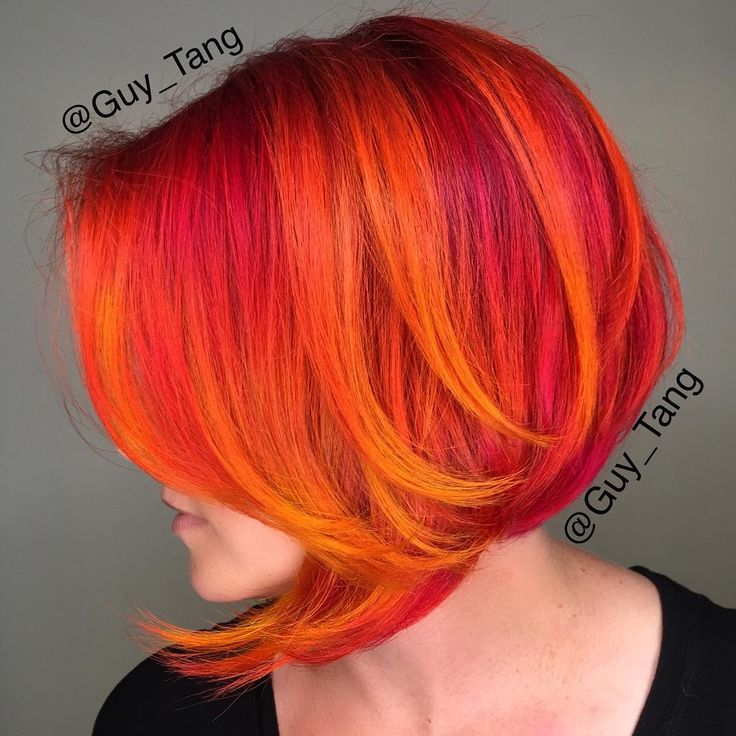 "Guy Tang no Instagram: ""Hello #HairBesties , Thanks for watching on #periscope on this formulation using @pravana wild orchid,magenta,orange, neon orange, neon yellow, and red! Follow on #periscope for details and updates! My client Erin had so much fun talking to you on #periscope too @erinyuenphotography love doing her cut and color!"""
