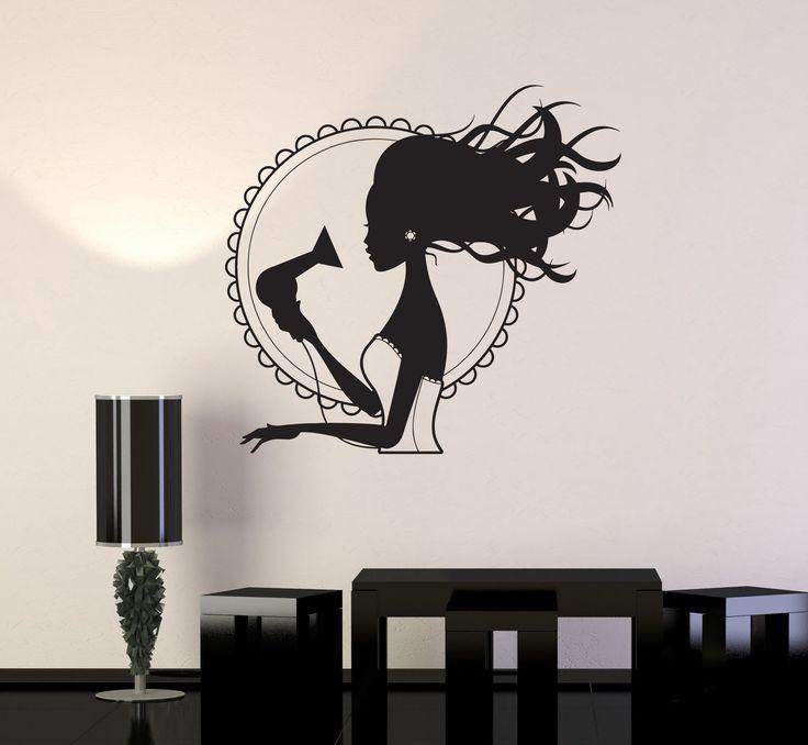 Wall Decal Beauty Salon Hair Dryer Stylist Woman Barbershop Vinyl Mural Unique Gift (ig2866)