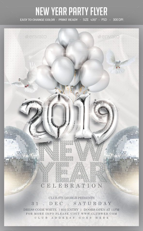 New Year Party Flyer Template PSD Download - Easy Editable Text