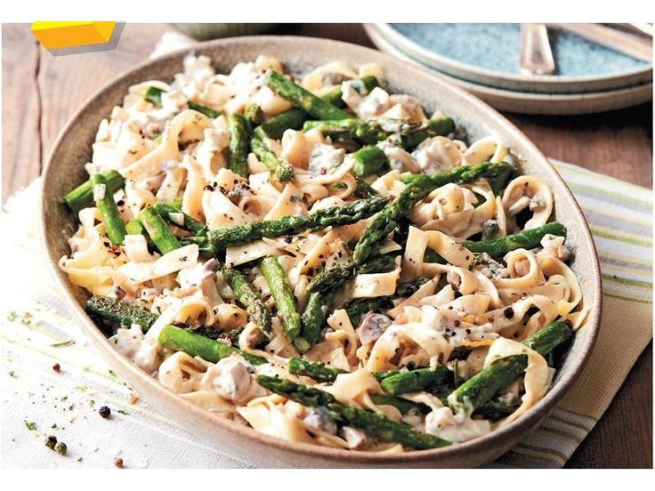 Fettuccine With Mushrooms And Asparagus