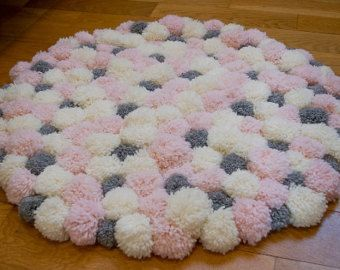 Pom Pom heart shaped rug pink princess girls bedroom rug