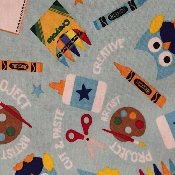 Riley Blake CRAYON OWLS SCHOOL SUPPLIES 100% cotton fabric by YARD C5400 BLUE #RileyBlake