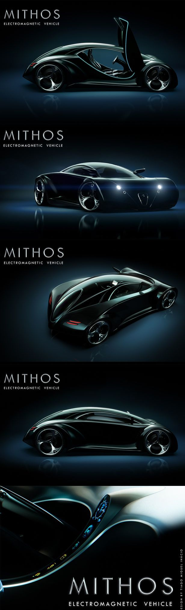 Futuristic mithos electromagnetic vehicle features crash resistant body and quantum boost technology batmobile